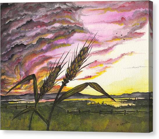 Canvas Print featuring the painting Wheat Field by Darren Cannell