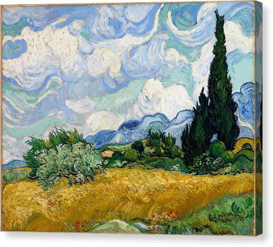 Canvas Print featuring the painting Wheatfield With Cypresses by Van Gogh
