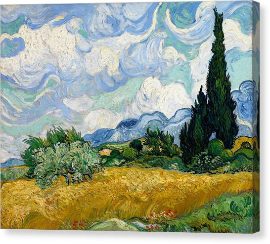 Wheat Field With Cypresses Canvas Print