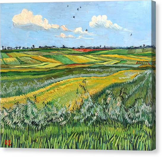 Wheat Fields And Clouds Canvas Print by Vitali Komarov