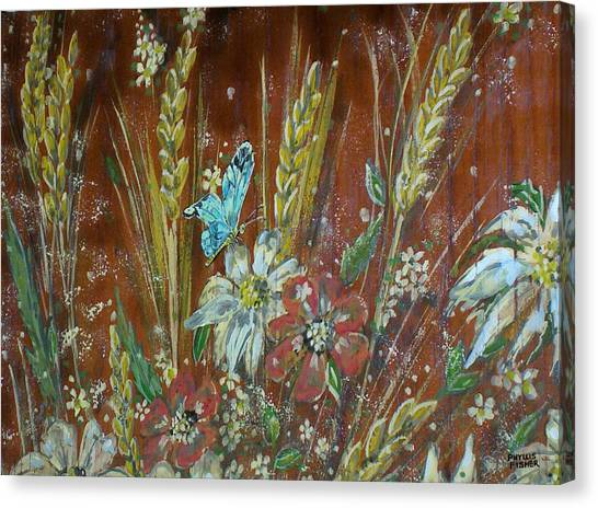 Wheat 'n' Wildflowers I Canvas Print by Phyllis Mae Richardson Fisher