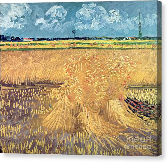 Field Canvas Print - Wheatfield With Sheaves by Vincent van Gogh