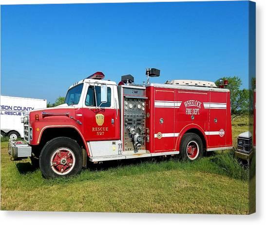 Volunteer Firefighter Canvas Print - Wheelock V F D Engine by Jennifer Wiginton