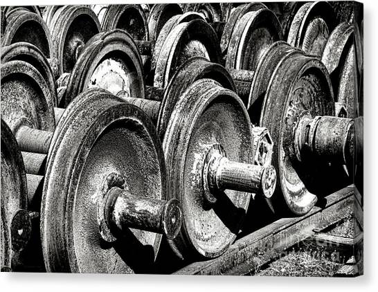 Freight Trains Canvas Print - Wheels And Wheels And Wheels by Olivier Le Queinec