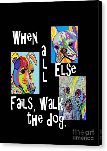 French Bull Dogs Canvas Print - When All Else Fails, Walk The Dog by Eloise Schneider Mote