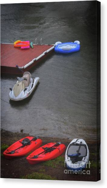 Jet Skis Canvas Print - When It Rains At The Lake by Skip Willits