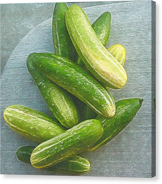 Still Life Canvas Print - When Life Brings You Cucumbers by Michele Meehl
