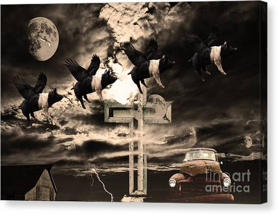Dada Art Canvas Print - When Pigs Fly by Wingsdomain Art and Photography