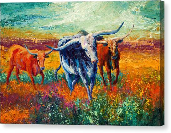 Prairie Canvas Print - When The Cows Come Home by Marion Rose