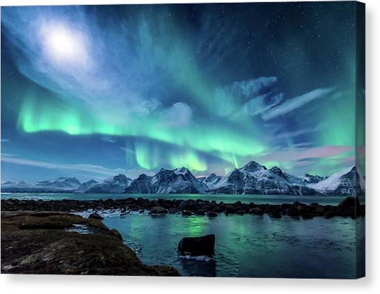 Aurora Borealis Canvas Print - When The Moon Shines by Tor-Ivar Naess