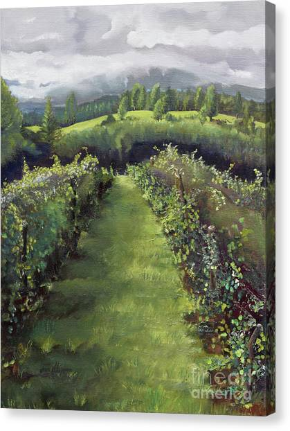 Canvas Print featuring the painting When The Vines Rest At Otts Farms And Vineyard by Jan Dappen