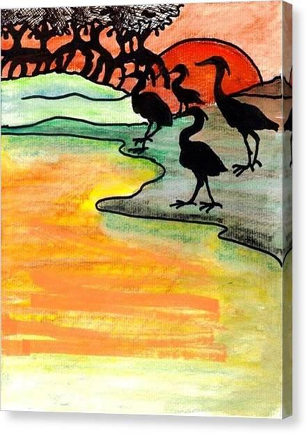 Mango Tree Canvas Print - Where Heron Feed by Carol Allen Anfinsen