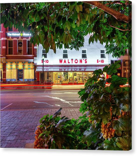 Canvas Print featuring the photograph Where It All Began - Sam Walton's First Store - Bentonville Arkansas by Gregory Ballos