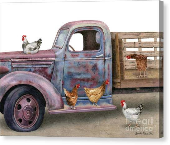 Rusty Truck Canvas Print - The Flock Spot  by Sarah Batalka