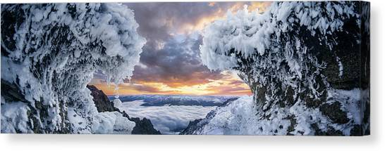 Mountain Sunsets Canvas Print - Where The Waves Collide by Adrian Borda
