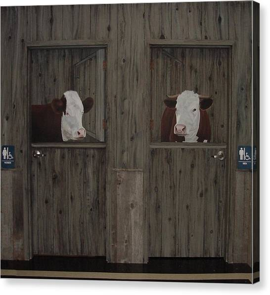 Which Stall Do I Go In Canvas Print by Sandra Poirier