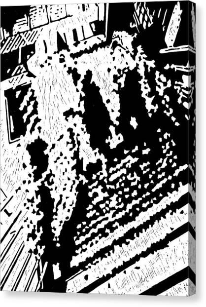 Which Way Up  -- Hand-pulled Linoleum Cut Canvas Print by Lynn Evenson