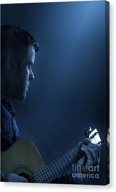 Performing Canvas Print - While My Guitar Gently Weeps by Evelina Kremsdorf