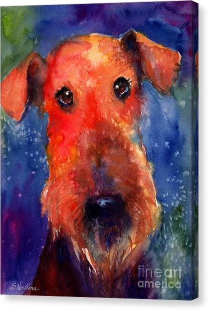 Whimsical Airedale Dog Painting Canvas Print