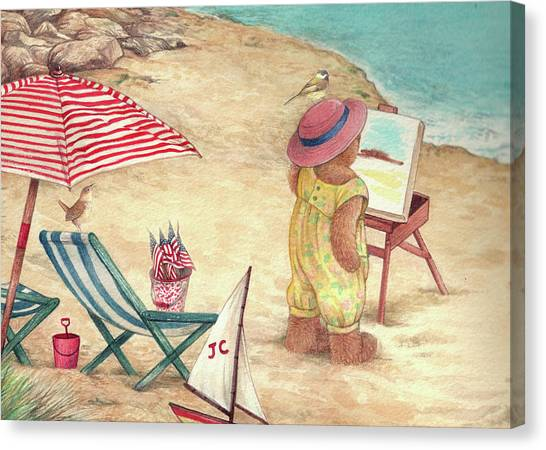 Canvas Print featuring the painting Whimsical Bear On The Beach by Judith Cheng