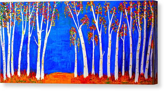 Whimsical Birch Trees Canvas Print