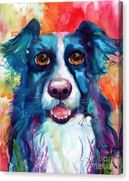Border Collies Canvas Print - Whimsical Border Collie Dog Portrait by Svetlana Novikova