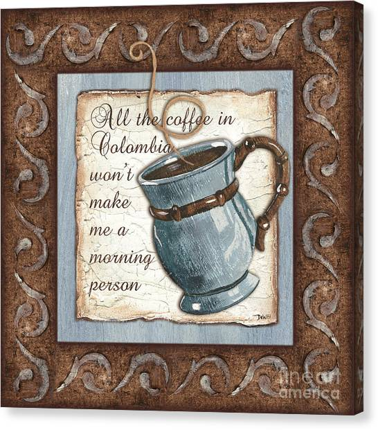 Cafes Canvas Print - Whimsical Coffee 1 by Debbie DeWitt
