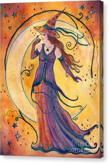 Witches Canvas Print - Whimsical Evening Witch by Renee Lavoie