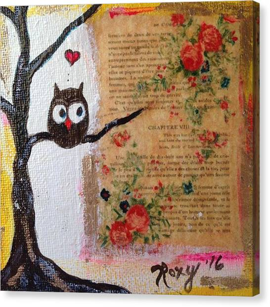 Red Wine Canvas Print - Whimsical Owl  #whimsical by Roxy Rich