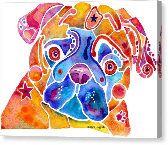 Whimsical Pug Dog Canvas Print by Jo Lynch