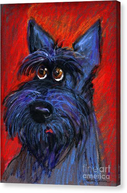 Schnauzers Canvas Print - whimsical Schnauzer dog painting by Svetlana Novikova