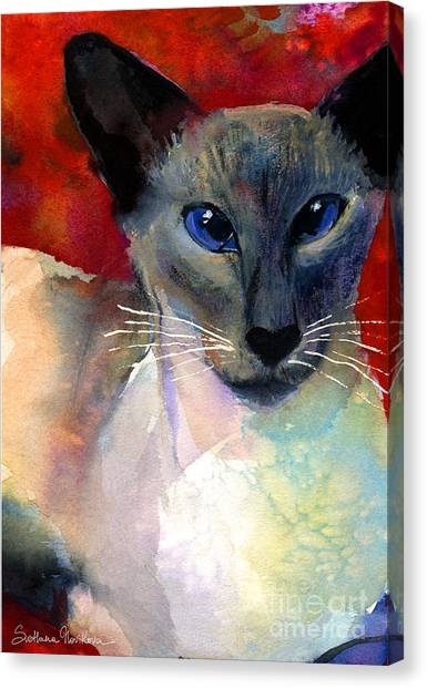 Siamese Canvas Print - Whimsical Siamese Cat Painting by Svetlana Novikova