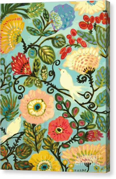 Cottage Style Canvas Print - Whimsical Sweet Cottage Garden by Karen Fields