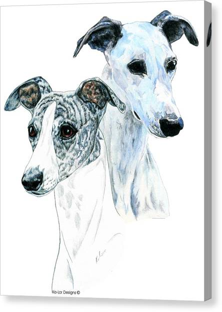 Prairie Dogs Canvas Print - Whippet Pair by Kathleen Sepulveda