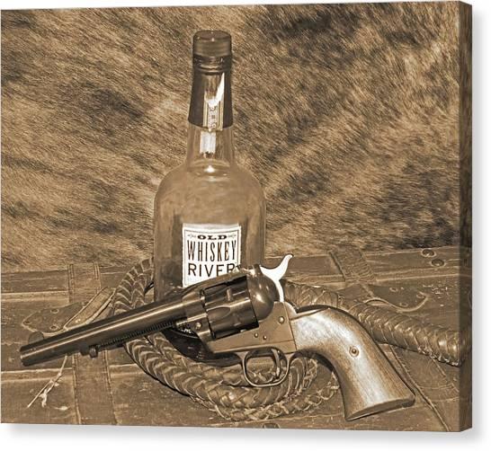 Whiskey And A Gun Canvas Print