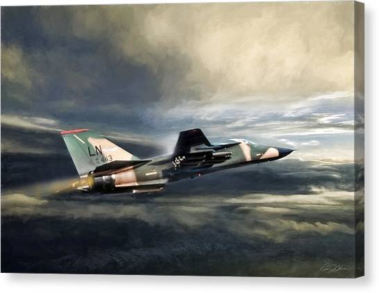 Linebackers Canvas Print - Whispering Death F-111 by Peter Chilelli
