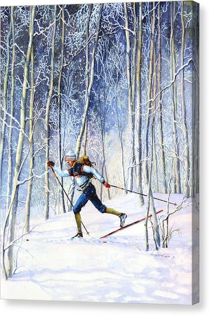 Ski Canvas Print - Whispering Tracks by Hanne Lore Koehler