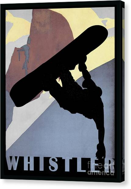 Freeriding Canvas Print - Whistler Blackcomb Winter Sport Snowboarding Dude by Tina Lavoie