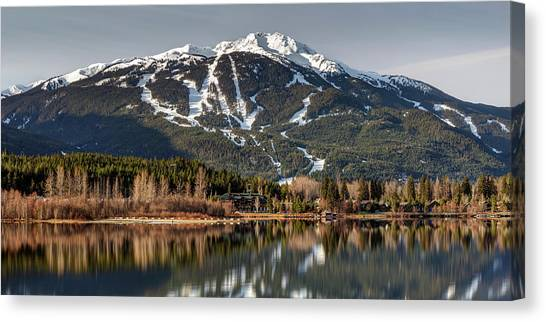 Canvas Print featuring the photograph Whistler Mountain Reflection Panorama by Pierre Leclerc Photography