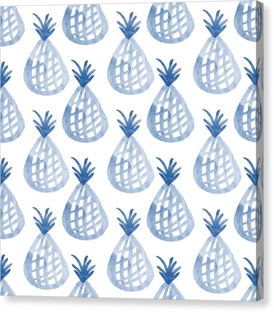 Pineapples Canvas Print - White And Blue Pineapple Party by Linda Woods