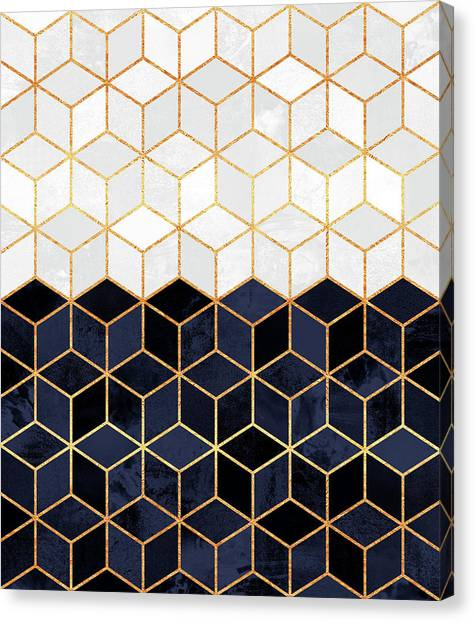 Geometry Canvas Print - White And Navy Cubes by Elisabeth Fredriksson