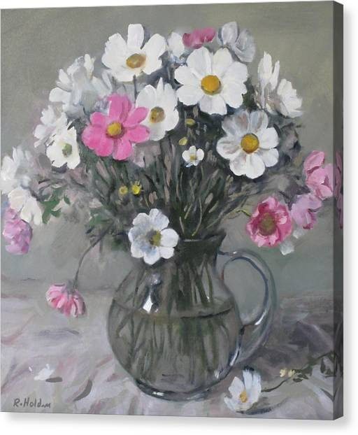 White And Pink Cosmos Bouquet In Water Pitcher No. 2 Canvas Print