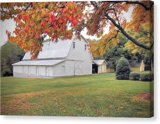 White Barn In Autumn Canvas Print