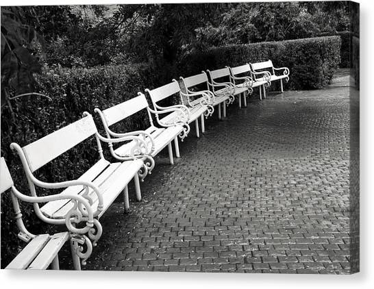 Black And White Art Canvas Print - White Benches-  By Linda Wood Woods by Linda Woods