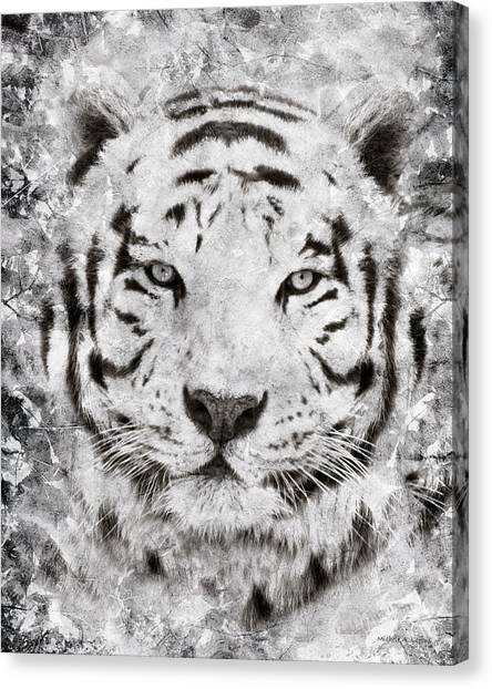 White Bengal Tiger Portrait Canvas Print