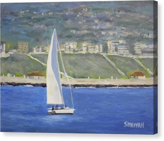 White Boat, Blue Sea Canvas Print