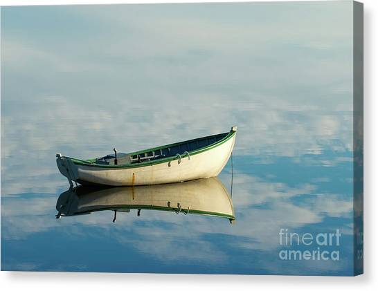 White Boat Reflected Canvas Print