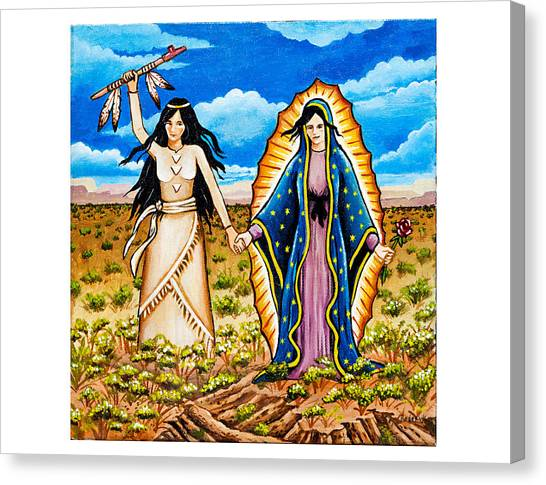 White Buffalo Woman And Guadalupe Canvas Print