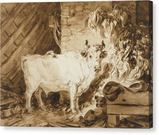 Rococo Art Canvas Print - White Bull And A Dog In A Stable by Jean-Honore Fragonard