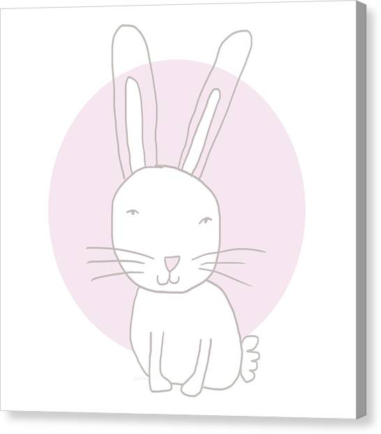 Easter Bunny Canvas Print - White Bunny On Pink- Art By Linda Woods by Linda Woods
